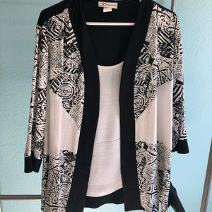 Dressbarn Xlarge black and white shirt